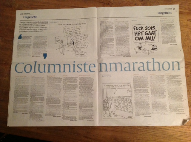 Columnistenmarathon, Volkskrant, 12 januari 2015