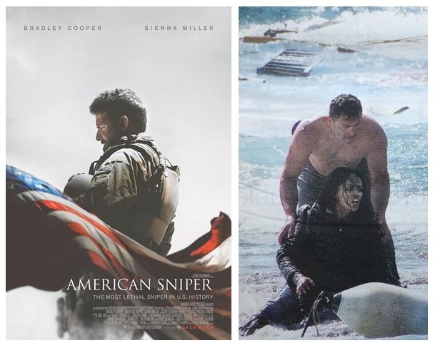 Filmposter American Sniper; bootvluchtelingen bij Rhodos, de Volkskrant, 21 april 2015 (fragment)
