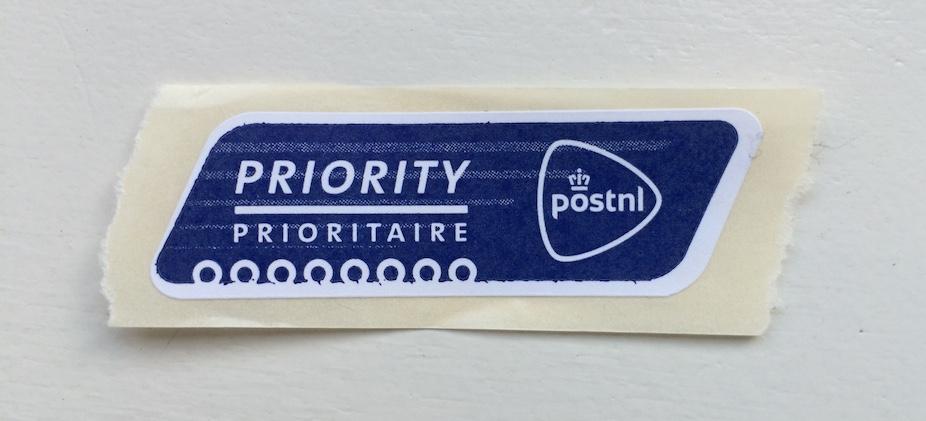 Prioritysticker van PostNL