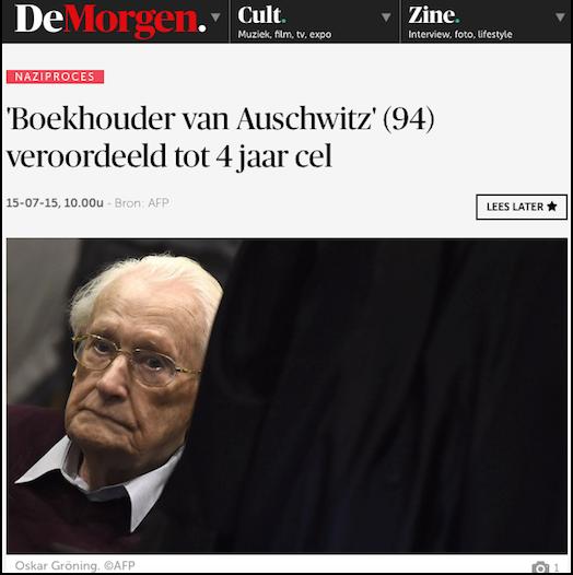 Nieuwsbericht over de veroordeling van Oskar Gröning op de website van De Morgen, 15 juli 2015