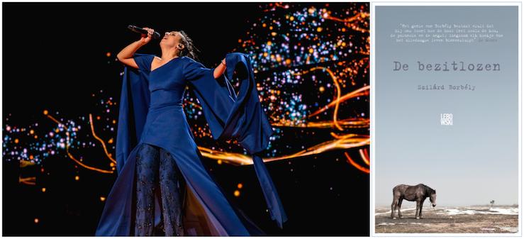 Jamala, Eurovisie Songfestival 2016 (foto: Eurovision); boekomslag van Szilárd Borbély, 'De bezitlozen'.